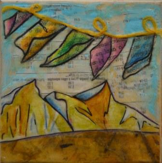 Encaustic collage using beeswax, by Sarah Baker of Fox Hollow Studio
