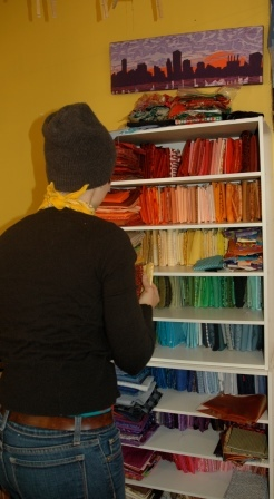 Textile artist Jamie Langhoff keeps her fabric inventory well organized at Seeing in Fabric studio in Northwest Washington, D.C.