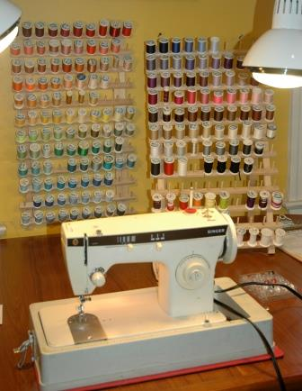 The 1968 Singer sewing machine is a workhorse that can handle the miles of thread textile artist Jamie Langhoff needs for her straight and zigzag stitching.