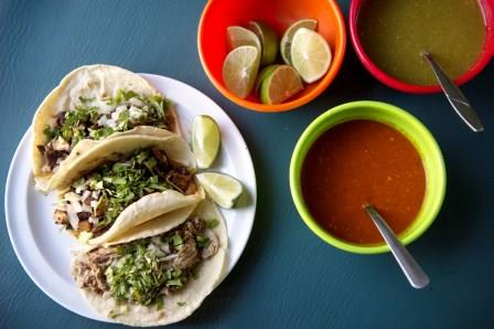 Carne asada, cow tongue, and barbacoa tacos are among a wide variety to choose from on the menu at La Fondita restaurant. (Amanda Voisard/The Washington Post)