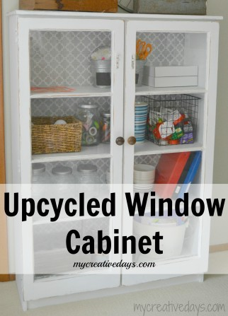 cabinet with old window doors