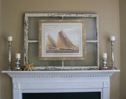 Use an old sash to set off artwork (from Walnut and Vine)