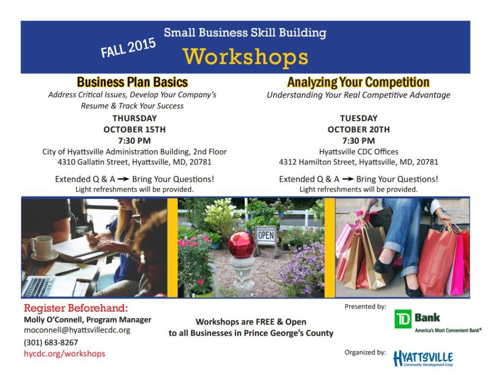 2015 -10 Hyattsville CDC Small Business Workshops flyer