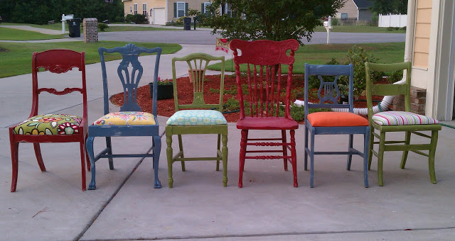"Or, create your own ""set"" of colorful chairs, like Jessica Elliot at AllThingsThrifty"