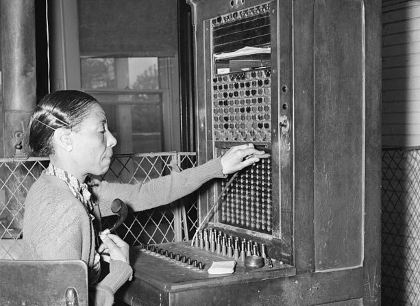 vintage lady at switchboard