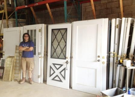 Manuel shows off the haul of doors. It took a lot of heavy lifting to get them all loaded up on our truck!