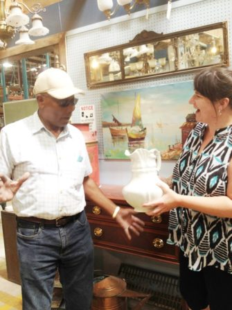 Ruthie and customer with vintage pitcher - antique appraisal