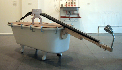 Feeling really creative? Someone turned a tub into a huge bass guitar. We weren't able to find the original source of this picture, so sadly we don't have a link. Sure wish we could hear a sound clip from this amazing-looking instrument!