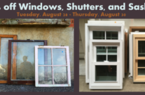 Midweek Flash Sale – Windows, Sashes, and Shutters