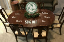 Half off Tables, Chairs, and Tile
