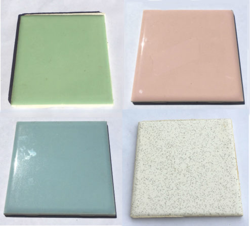 Photo of four colors of twentieth century bathroom tiles