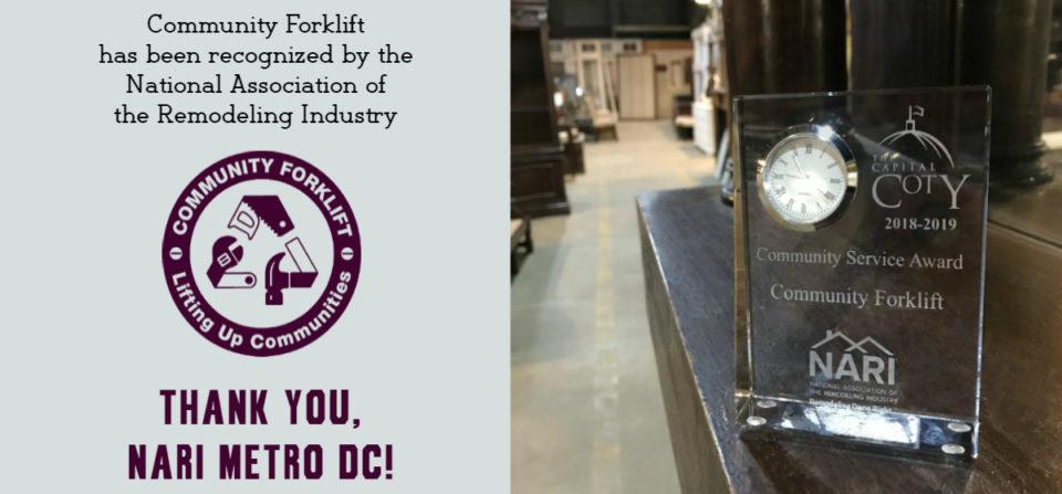 Forklift wins NARI Metro DC's Community Service Award