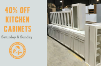 Weekend Sale:  40% off Cabinets