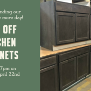 Cabinet Sale extended through 7pm Monday