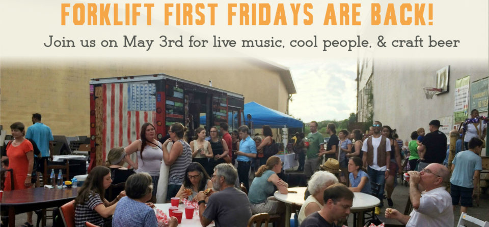 Photo of crowd enjoying music and food at a previous Forklift First Friday party