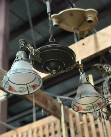 Victorian brass hanging light with rose painted shades