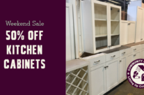 Weekend sale:  kitchen cabinets are 50% off!
