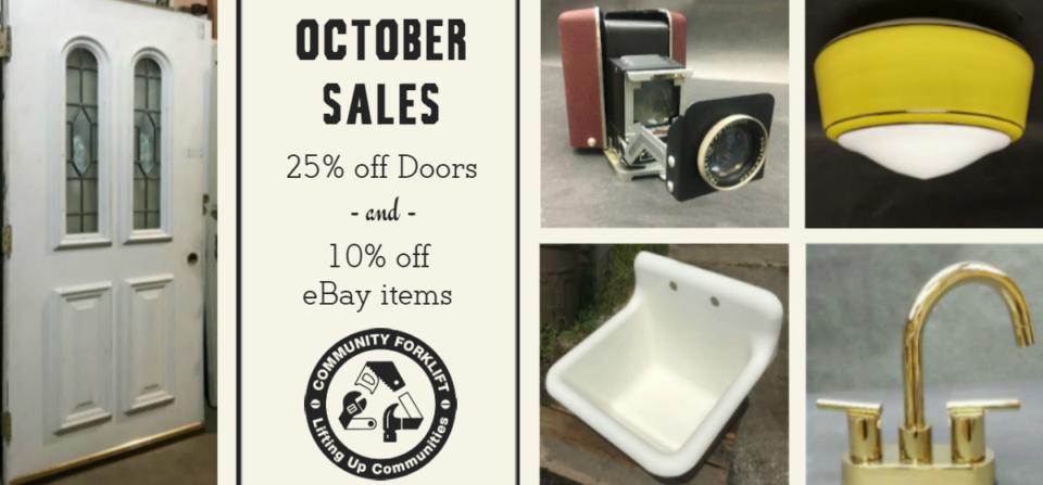 October Sales:  25% off Doors & 10% off eBay