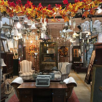 Fall decorations and vintage furniture at Community Forklift