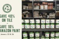 Save 40% on Tile & 10% on Amazon Paint