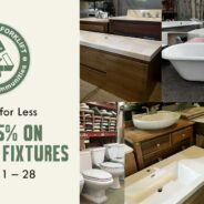 Vintage and modern bathroom fixtures are 25% off in February!