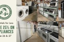 Save 25% on appliances at the reuse warehouse this weekend!