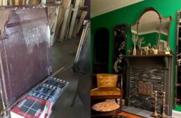 Living Room renovation features a faux fireplace made with salvage
